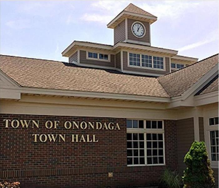town hall building with brown roof